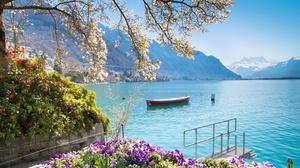 Boat Montreux Mountain Switzerland 3240x1823 Wallpaper
