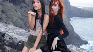 Women Model Women Outdoors Latinas Dark Hair Redhead Long Hair Nature Hand Gesture Smiling 2500x1667 Wallpaper