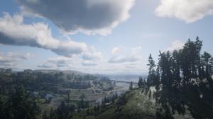 Red Dead Redemption 2 Nature Landscape Screen Shot Trees Clouds Cliff Bridge 1920x1080 Wallpaper