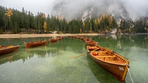 Fall Forest Mountain Fog Lake Shore Alps 3840x2160 Wallpaper