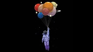 Astronaut Balloon Colorful Planet Spacesuit 3840x2160 Wallpaper