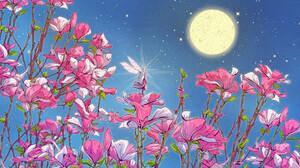 Christian Benavides Digital Art Fantasy Art Flowers Night Sky Fairies Moon Stars Magnolia 3840x2160 Wallpaper