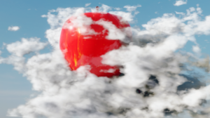 Red Apple Clouds Blender 3D Graphics 3D Abstract Abstract Fruit Sky 1920x1080 Wallpaper