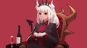 Anime Anime Girls Video Game Art Video Games Fan Art Helltaker Lucifer Helltaker White Hair Long Hai 5525x4000 wallpaper