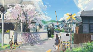 Pao Yong Spring Anime Anime Girls Cherry Blossom Urban Asia Street Bicycle Railway Crossing ArtStati 1920x1038 Wallpaper
