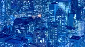 City Skyscraper New York City Night Lights Blue Manhattan Downtown Metropolis Architecture Town Buil 7360x4912 Wallpaper