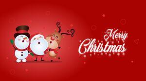 Deer Merry Christmas Reindeer Santa Snowman 2560x1440 Wallpaper