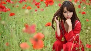 Asian Brown Eyes Brunette Flower Girl Model Poppy Red Flower Summer Woman 2048x1365 Wallpaper