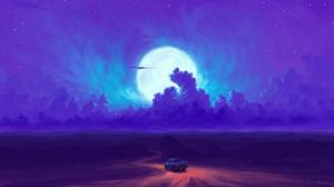 Digital Painting Landscape Car Sky Clouds Night Moon BisBiswas 1920x1080 Wallpaper