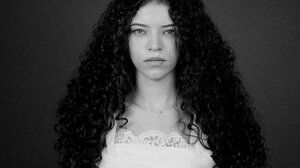 Brittany Venti Women Curly Hair Looking At Viewer Monochrome 1514x2048 Wallpaper