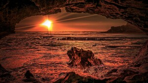 Cave Horizon Ocean Sea Sun Sunset 4608x3456 Wallpaper