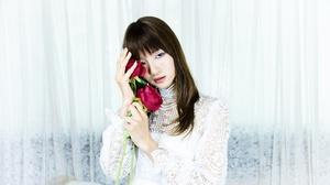 Asian Brown Eyes Brunette Girl Model Red Rose White Dress Woman 2048x1356 Wallpaper