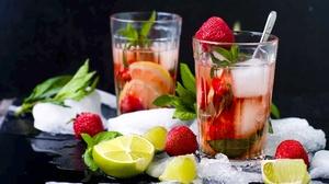 Fruit Glass Lime Still Life Strawberry 2048x1360 Wallpaper
