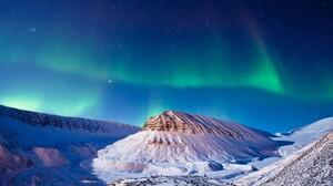 Aurora Borealis Earth Mountain Nature Snow Stars 1920x1200 Wallpaper