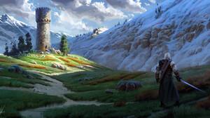 Michal Kus Video Games Snow Covered Landscape Digital Painting Digital Art Video Game Art White Hair 3300x1746 Wallpaper