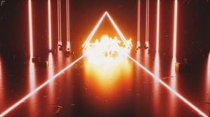Cinema 4D Cyberpunk Neon 3D Abstract Triangle 3840x2160 Wallpaper