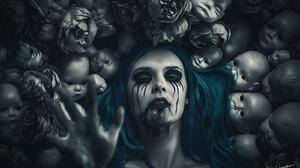 Blue Hair Dark Doll Makeup Woman 1600x1067 Wallpaper