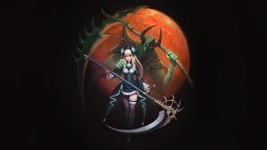 Blonde Death Girl Grim Reaper Heterochromia Moon Scythe 4500x2240 Wallpaper