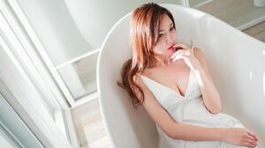 Asian Model Women Long Hair Brunette White Dress Bathtub Sitting 2949x1929 wallpaper