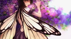 Anime Anime Girls Flowers Wings Brunette Long Hair Purple Eyes Butterfly Dress Looking At Viewer Ros 1800x1189 Wallpaper