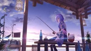 Blue Hair Fishing Black Boots Boat Lantern Sky Moon Sailing Ship Stars Wine Rice Bench Orange Eyes C 2656x1881 Wallpaper