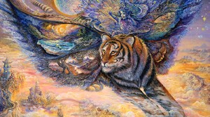 Artistic Fairy Fantasy Flying Tiger 1600x1200 wallpaper