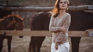 Women Model Dark Lipstick Brown Sweater Women Outdoors Sunlight Sweater 1920x1280 Wallpaper