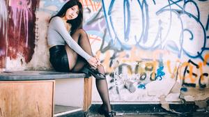 Asian Model Women Long Hair Dark Hair Nylons Leather Skirts Blue Tops Sitting Graffiti 2560x1706 Wallpaper
