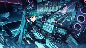 DJ Blue Hair Vocaloid Hatsune Miku Anime Girls Anime Blue Eyes 1920x1080 Wallpaper