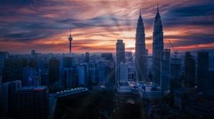 Building City Cityscape Kuala Lumpur Malaysia Petronas Towers Skyscraper Sunrise 3500x1970 wallpaper