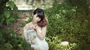 Asian Birdcage Brunette Depth Of Field Girl Model White Hair Woman 1920x1200 Wallpaper