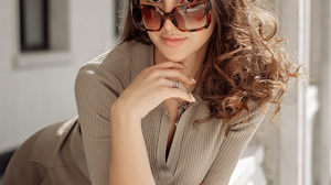 Anastasia Rusyaeva Women Brunette Wavy Hair Sunglasses Brown Clothing Jewelry Long Nails Balcony Mod 1080x1618 Wallpaper