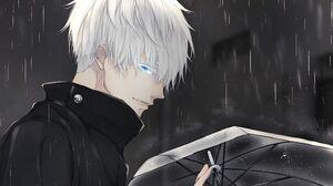 Satoru Gojo White Hair Blue Eyes Boy School Uniform Rain Umbrella 3840x2160 Wallpaper