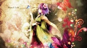 Anime Artistic Butterfly Colorful Flower Girl Purple Hair Short Hair 1920x1200 Wallpaper