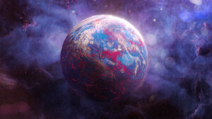 Elia Pellegrini Earth Space Artwork Planet Drawing Digital Painting Digital Art ArtStation 3840x1732 Wallpaper