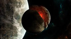Astronaut Planet 3200x1200 Wallpaper