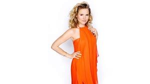 Actress Blonde Blue Eyes Kristen Bell Orange Dress 2561x1440 Wallpaper