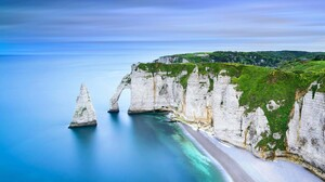 Landscape Nature Chalk Cliff Sea Rock Beach Etretat France 1920x1080 Wallpaper