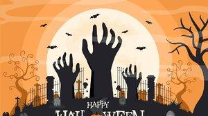 Artwork Halloween Bats Tombstones 1920x1351 Wallpaper