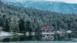 Winter Forest House Snow Cold Trees Reflection Water River White Landscape Hills Ice Mountains 5616x3744 Wallpaper