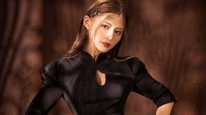 Asian Model Women Long Hair Brunette Black Dress Hair Pins Depth Of Field 2560x2068 Wallpaper