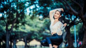 Asian Model Women Long Hair Dark Hair Depth Of Field Trees Black Heels Leather Pants White Blouse Po 3840x2559 Wallpaper