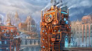 Artwork Steampunk Tower City 1920x1425 Wallpaper