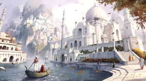 Wenfei Ye Drawing Palace Building River Boat Water Birds White Sky Architecture 1920x911 wallpaper