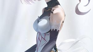 Fate Apocrypha Fate Series FGO Monster Girl Metal Horns Short Hair Black Gloves Heterochromia Blushi 1275x1800 Wallpaper