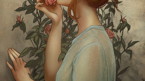 Rachel Bradley Roses Leaves Portrait Display Rose Closed Eyes Side View Digital Art Drawing Women Ar 1200x1411 Wallpaper