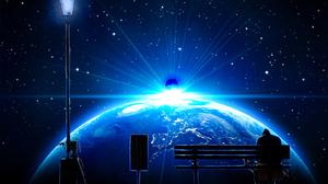 Meteorite Space Sky Earth Bench Destruction Blue Space Art Planet Digital Art Stars Lantern 1623x1080 Wallpaper