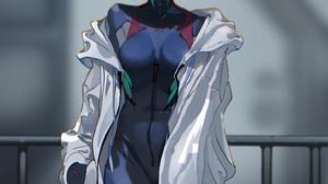 Neon Genesis Evangelion Plugsuit Anime Girls Bangs Red Eyes White Jacket Looking At Viewer Depth Of  1536x2048 wallpaper