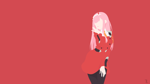 Darling In The Franxx Girl Long Hair Minimalist Pink Hair Zero Two Darling In The Franxx 3840x2160 Wallpaper