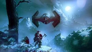 Omer Tunc Digital Art Fantasy Art Star Wars Video Games Crossover Crossover TiE Fighter Dragonborn T 1920x1081 wallpaper